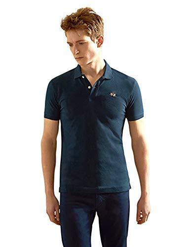 La Martina Herren Short Sleeve Piquet STR Poloshirt, Blau (Navy 07017), Medium