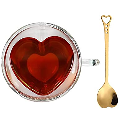 Heart Shaped Cup - Double Walled Insulated Glass Coffee Mug or Tea Cup - Double Wall Glass 8 oz - Clear - Unique & Insulated with Handle - a Teaspoon As a Gift