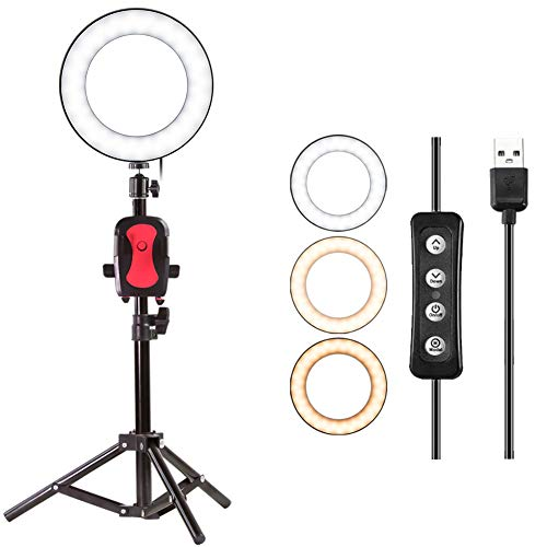 "8"" Selfie Ring Light with Tripod Stand for YouTube Video and Makeup,Natwag Led Desktop Ring Light,Cell Phone Holder Desktop LED Lamp Mini LED Camera Light with 3 Light Modes & 11 Brightness Level."
