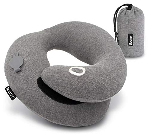 BCOZZY Inflatable Chin Supporting Travel Neck Pillow- for Comfortable Sleep on Airplanes and in Road Trips- Compact & Lightweight, 100% Cotton, Machine Washable Cover, Carry Bag. Adult, Gray