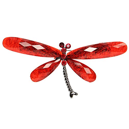 SOQNVLN Brooch Pins for Women, Vintage Rhinestone Insect Dragonfly Shape Brooch Pin Animal Breastpin (Red)