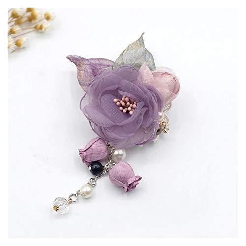 yywl Broche Blumenbrosche Revers Pin Tuch Damen Tuch Kunst Süßes Hemd Kragen Zubehör Broschen & Anstecknadeln (Metal Color : Purple)