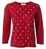 Alfred Dunner Women's Petite Novelty Design Embellished Sweater, red, PM