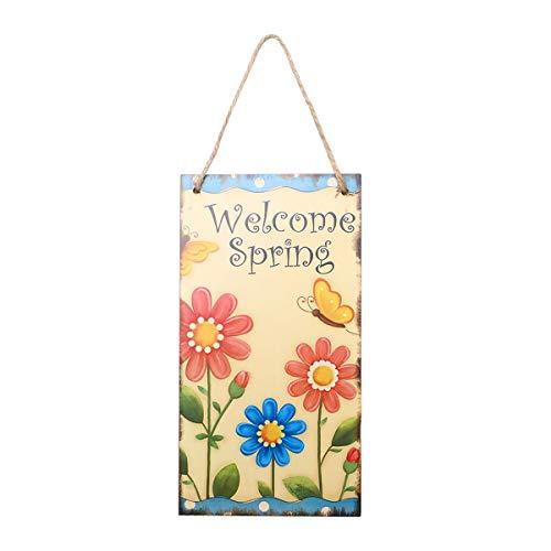 Lurrose Decoración Colgante de Madera de la Placa de Pascua de la Primavera para la Puerta de la Pared (Welcome Spring)