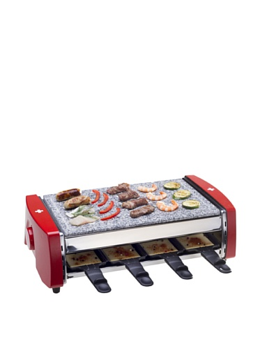 Nouvel 8er Raclette Stone Gourmet Swiss silber/rot one size
