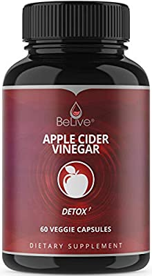 Apple Cider Vinegar Capsules for Weight Loss, Detox & Cleanse, Extra Strength Pills – 1250mg Organic Cleanser, Non-GMO, Vegetarian Friendly 60 Capsules