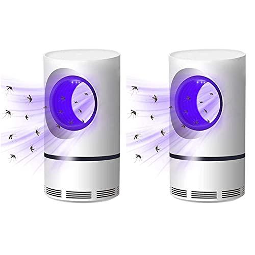 2 Stück UV-Licht Moskito-Killer, Mücken- und Fliegen-Killer-Falle - Saugventilator, kein Zapper, kindersichere Auffanglampe, 360 ° Leise Keine Strahlung (2 Stück)