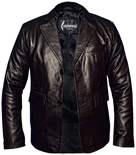 Men's Open Bottom Smooth Collar 100% Pure Nappa Lambskin Motorcycle Leather Biker Jacket (Official Black, Large)