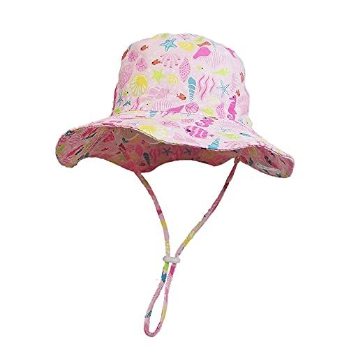 Wekdeg Garçons Filles Chapeaux de Seau, Chapeau de Seau D'été Imprimé Rose en Plein Air Unisexe Enfant Enfants Chapeau de Plage pour La Protection Solaire