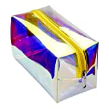 Holographic Makeup Bag, Cambond Clear Cosmetic Pouch Toiletry Organizer Cute Pencil Case Stationery Box, Gifts for College Girls Teens Women (Hologram Gold)