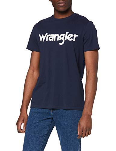 Wrangler Logo tee Camiseta, Real Navy 1, XL para Hombre