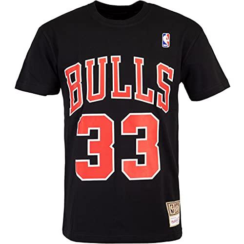 Mitchell & Ness NBA Scottie Pippen Chicago Bulls - Camiseta, diseño con nombre y número Negro M