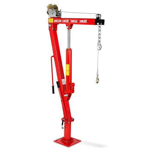 EBERTH 900 kg hydraulischer Pick-Up Kran (Lasthaken, Kette, Hubhöhe 1900 mm, 360° Schwenkfunktion, Seilwinde, zusammenklappbar)
