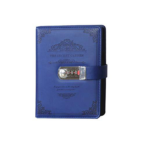 MARSACE Unisex Password Taccuino Impermeabile Diario Di Viaggio Vintage PU Bloc Notes Bianche Quaderno con Porta Penna Schede Slot Journal A5 100 Fogli 20x13cm Blu