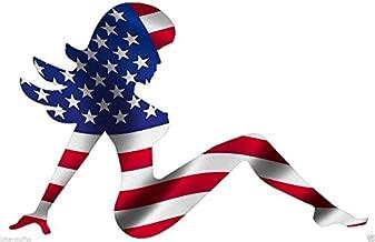 MUDFLAP GIRL AMERICAN USA FLAG TRUCKER GIRL HARD HAT STICKER LAPTOP STICKER TOOLBOX STICKER HELMET STICKER WINDOW STICKER