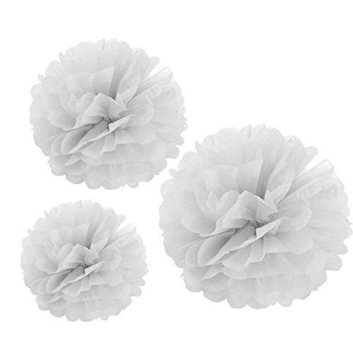 Carta Velina Decorativo,Pompon Fiore Palla ,Palle di Carta Appendere per il Compleanno Decorazione Della Festa Nuziale,30PCS Bianco (35cm /25cm /20cm )