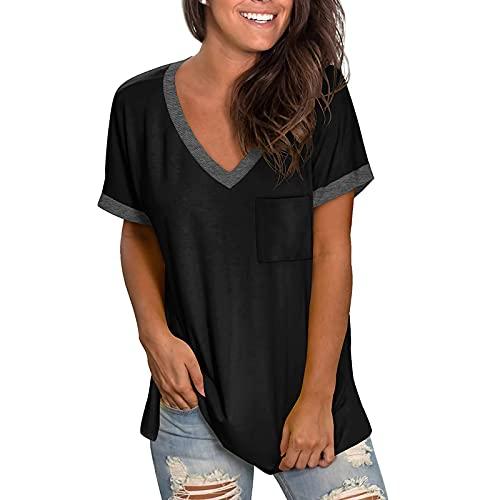 Camisetas Mujer Manga Corta Cuello V Casual Verano Blusa Baratas Originales T-Shirt Tie Dye Estampada Deporte Tops Suelta Elástico tee Shirts Básica Camisa de Vestir (#06 Negro, XL)