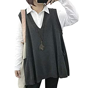 Women's Loose Swing Chunky Cotton Sweater Vests Oversized Knit Pullovers
