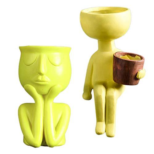 Fenteer Paquete De 2 Adornos De Escritorio Para Macetero Con Escultura De Retrato Humano