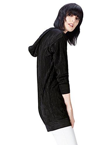 Amazon-Marke: find. Hoodie Damen gerippt, mit langer Silhouette, Schwarz (Black), 38, Label: M