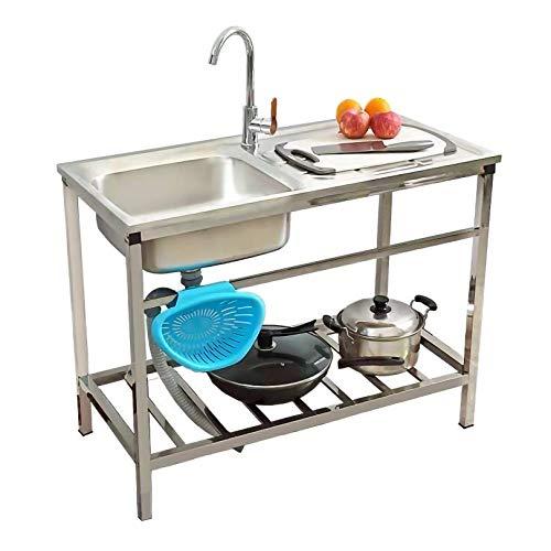 Fregaderos de cocina de acero inoxidable, estructura de mesa práctica y moderna, fácil de montar, moldeado a presión de una pieza, escritorio con textura antideslizante de un solo tazón profundo