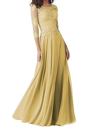 Abendkleider Lang Brautmutterkleider Langarm Spitze Hochzeitskleid Ballkleider A-Linie Chiffon Festkleider Gold 42
