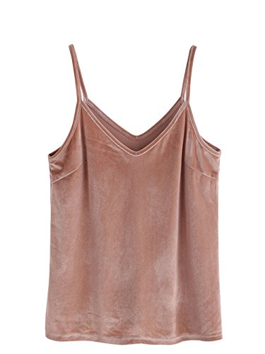SheIn Women's Casual Basic Strappy Velvet V Neck Cami Tank Top Small Brown