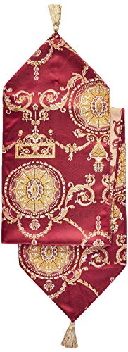 Damask Burgundy and Gold Table Runner