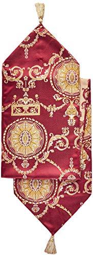 Violet Linen Prestige Damask Tischläufer, burgunderfarben, 13