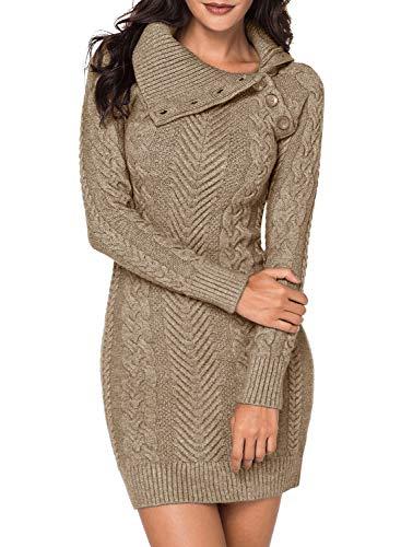 BLENCOT Womens Cute Asymmetric Neck Long Sleeve Solid Slim Fit Bodycon Knit Sweater Dress Jumper Apricot Medium