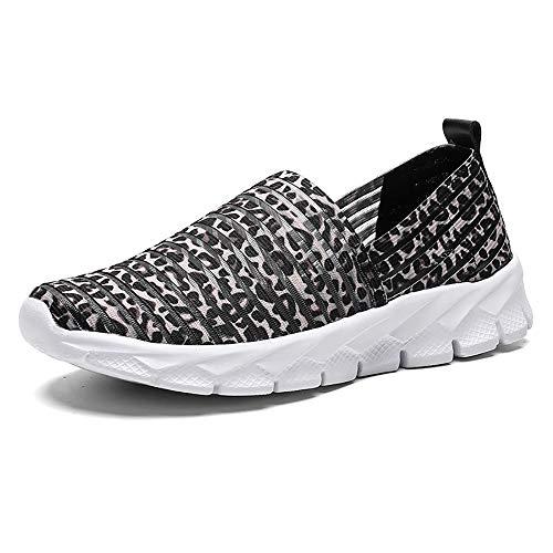 Zapatos para Corror Mujer Zapatillas de Deportiva Slip on Huecos Sneakers para Caminar Walking Calzado Malla Transpirables Loafer Ligeros Mocasines Verano Marrón 39 EU