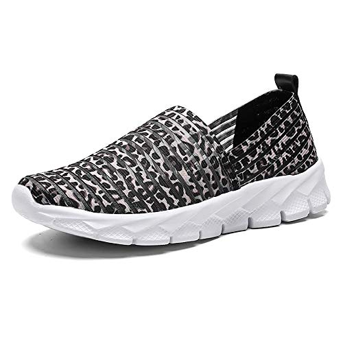 Zapatos para Corror Mujer Zapatillas de Deportiva Slip on Huecos Sneakers para Caminar Walking Calzado Malla Transpirables Loafer Ligeros Mocasines Verano Marrón 38 EU