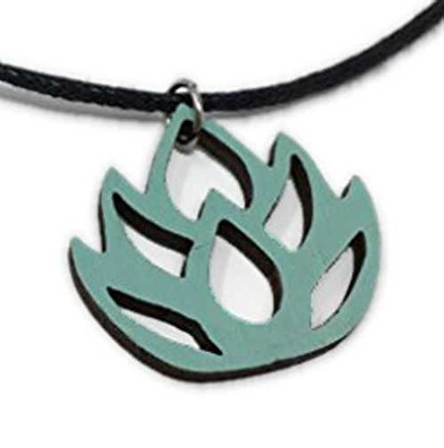 Blue Lotus Flower Choker Necklace   Pastel Handmade Natural Wood Pendant Jewelry   Cute Easter Gift for Her