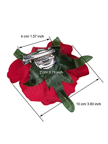 Outus 8 Pieces Rose Flower Hairpin Hair Clip Flower Pin up Flower Brooch, Red