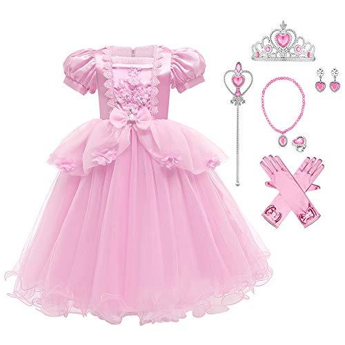 OBEEII Kinder Mädchen Kostüm Prinzessin Rapunzel Lang Kleid Party Cosplay Verkleidung Festlich Karneval Festkleid Brautjungfer Maxikleid Geburtstagsfeier Fest-Kleid #cinderella01 6-7 Jahre
