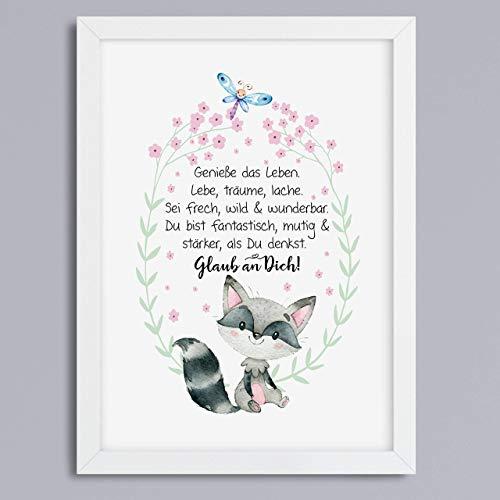 Kunstdruck mit Spruch Glaub an dich Waschbär Geschenkidee optional mit Rahmen