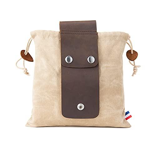 Tasche für Futtersuche Zusammenklappbar für Wandern, Faltbare Canvas Bushcraft-Tasche aus Leder und Leinwand mit Kordelzug für Camping Radfahren Klettern,Khaki