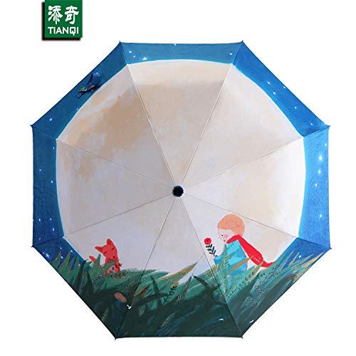 Illustration des Kleinen Prinzen Sonnenschirm Warme Literatur Und Kunst Silber Kleber Sonnenschutz DREI Falten Dampf Schirm Outdoor Faltschirm 54CM x 8K pro