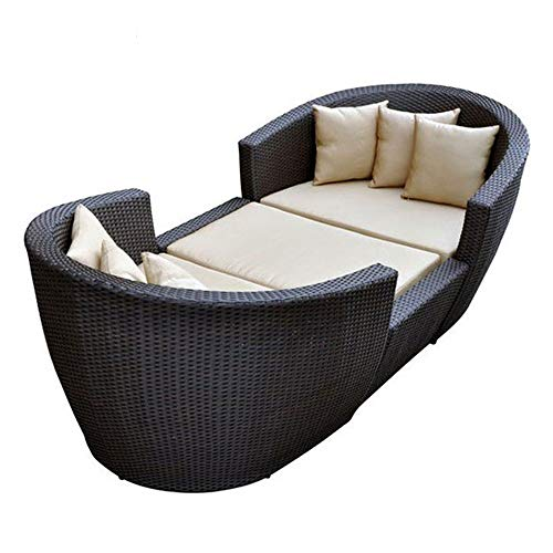 ZHFC Outdoor Rattan Schlafsofa, Pool Lounge Sessel geeignet für Gartenterrasse Kissen, Metallrahmen, beweglichen Tisch und Stuhl Gartenmöbel 3PCS