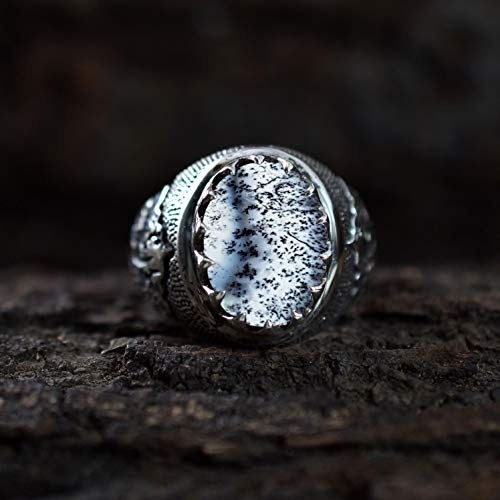 Natural Dendritic Opal Ring 925 Sterling Silver Ring Celtic Desiger Statement Ring Valentine's Day Ring Oval Shape Gemstone Ring Handmade Dendritic Agate Jewelry Ring