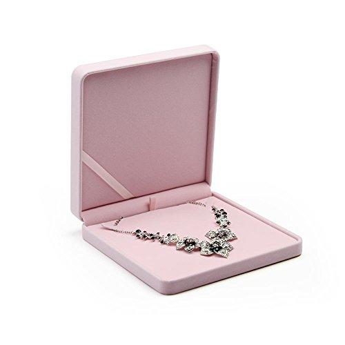 Oirlv Caja de Regalo de joyería de Terciopelo Rosa Anillo de Compromiso de Boda Pendiente Collar Pulsera Colgante Estuche de Almacenamiento (Caja de Collar Grande)