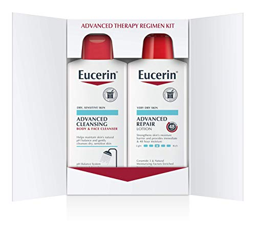 Eucerin Advanced Repair Skin Care Treatment Pack - Body Lotion & Facial Cleanser and Body Wash - 16.9 Oz Bottles (2 Pack)
