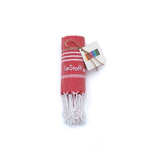 LeStoff Telo Mare Fouta Telo da Bagno XXL 100% Cotone di Alta qualità Asciugamano Turco Hammam Super Assorbenza Asciugatura Rapida Ecologico 50 x 100 cm Red