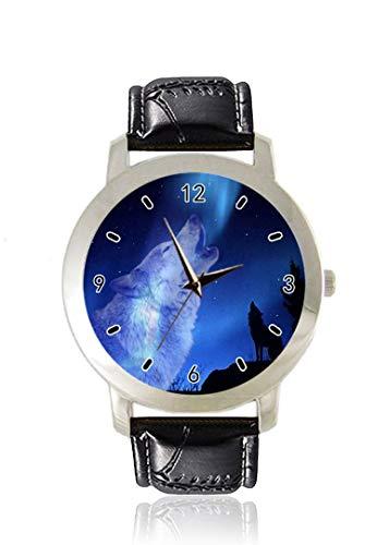 Wolf Herren-Armbanduhr, dünn, schlank, minimalistisch, modisch, wasserdicht, analog, Lederarmband, Geschenk