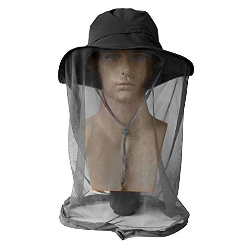 ayamaya Mosquito Insect Net Hat Men/Women, Outdoor Summer Sun Protection Netting Bucket Boonie Hat Netting Protection from Bug Bee Gnats Face Neck Cover for Fishing Camping Safari Hunting Black