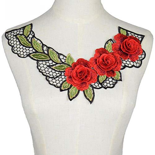 Rode kleur kant stof jurk stoffen motief blouse naaien versieringen DIY hals kraag kostuum decoratie accessoires Scrapbooking, 37