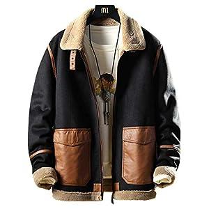【BACTIM】冬物メンズジャケットファー・コート 毛皮一体ブルゾン大きいサイズ黒 ボアフリース ムートンコート ライダースジャケット 中綿ジャケット ブルゾン 厚手裏起毛防寒防風カジュアル個性 サイズM~5XL (3XL)