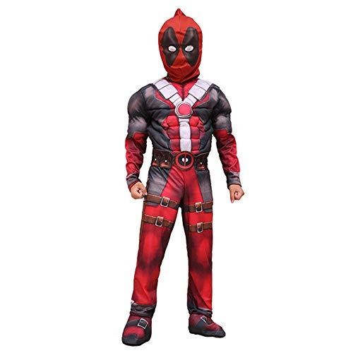 Deadpool Cosplay Deluxe Costume Halloween Superman X-Men Hero Mono de Halloween para niños con máscara para Fiesta de Disfraces,A-XL(135~145 cm)