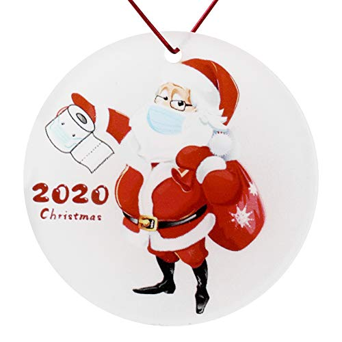 Yiomar Christmas Ornaments 2020, Merry Christmas Santa Claus with Mask Toilet Paper Christmas Tree Hanging Decoration