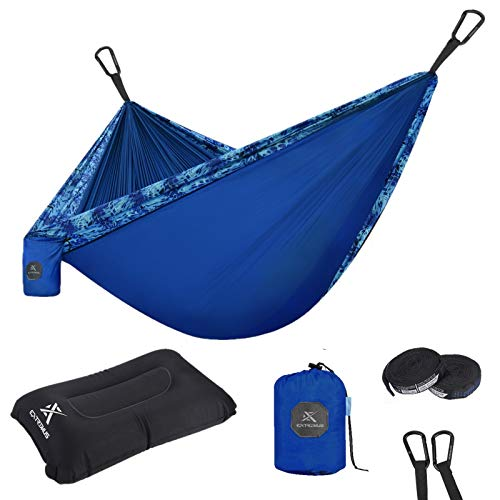 Extremus Single Body Sling Camping Hammock, Shoreline/Navy Blue, 9′ x 4.6′